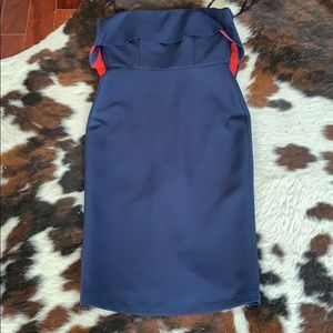 Strapless bcbg maxwzria  navy/red dress